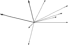 \setlength{\unitlength}{1mm} \begin{picture}(60,40) \put(30,20){\vector(1,0){30}} \put(30,20){\vector(4,1){20}} \put(30,20){\vector(3,1){25}} \put(30,20){\vector(2,1){30}} \put(30,20){\vector(1,2){10}} \thicklines \put(30,20){\vector(-4,1){30}} \put(30,20){\vector(-1,4){5}} \thinlines \put(30,20){\vector(-1,-1){5}} \put(30,20){\vector(-1,-4){5}} \end{picture}